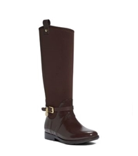 Michael Kors Charm Stretch Top Rubber Rain Boot Brown