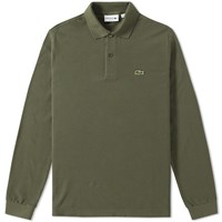 Lacoste Long Sleeve Marl Pique Polo Green