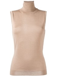 Lanvin Sleeveless Roll Neck Blouse Nude And Neutrals