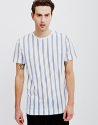 Adpt River Crew Neck Short Sleeve T Shirt Striped White Blue
