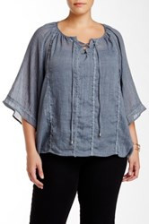 Wapi Embroidered Oversized Peasant Blouse Plus Size Blue