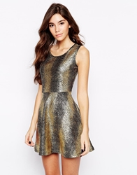 Pussycat London Metallic Skater Dress Gold