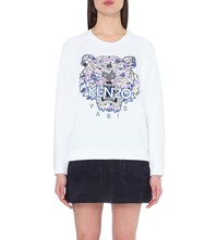 Kenzo Tiger Embroidered Cotton Jeersey Sweatshirt 01 White