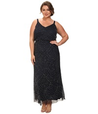 Adrianna Papell Plus Size Long Deco Bead Blouson Navy Women's Dress