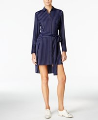 Armani Exchange Tie Belt High Low Shirt Dress Striped Blue