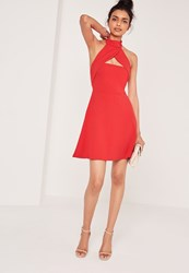 Missguided Wrap Halter Neck Skater Dress Red Red