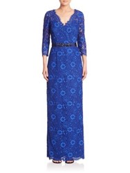 Rickie Freeman For Teri Jon Embellished Floral Lace Gown Royal