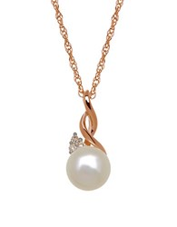 Lord And Taylor 7Mm White Freshwater Pearl Diamond Accented 14K Rose Gold Pendant Necklace