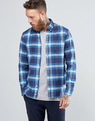 Penfield Riverview Large Check Shirt Button Brushed Cotton Blue