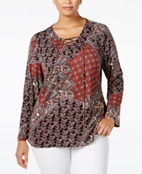 Ny Collection Plus Size Printed Lace Up Peasant Blouse Russet Versed