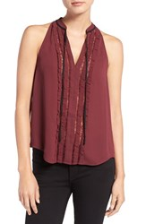Chelsea 28 Women's Chelsea28 Lace Inset Tie Neck Tank Burgundy London