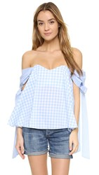 Caroline Constas Zoe Off Shoulder Bustier Top Baby Blue Gingham Multi