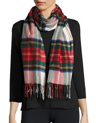 Lord And Taylor Fringed Tartan Plaid Scarf Or Wrap Ivory