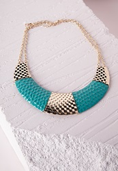 Missguided Contrast Metal Bib Necklace Turquoise Blue