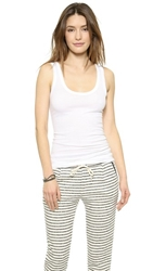 Enza Costa Bold Ribbed Tank White