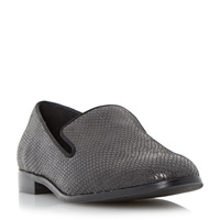 Dune Gray Slipper Cut Rounded Toe Loafers Grey