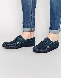 Frank Wright Boat Shoes In Suede Blue