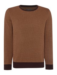 Peter Werth Orton Dogtooth Knitted Long Sleeved Cotton Crew N Brown