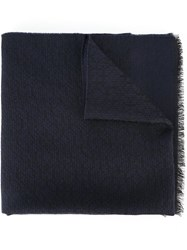 Lanvin Knitted Raw Scarf Blue