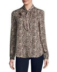 Three Dots Kathleen Tie Neck Leopard Print Blouse Natural Co