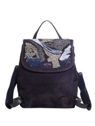 Maiyet Lamu Raffia Embroidered Suede Backpack Navy