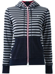 Loveless Contrast Pocket And Cuff Striped Zipped Hoodie Black