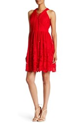 Eci Lace Up Halter Fit And Flare Dress Red