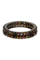 Sterling Silver Tourmaline Stackable Band Set Multi