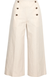 Sonia Rykiel Cropped Linen And Cotton Blend Wide Leg Pants