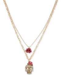 Betsey Johnson Gold Tone Glittery Skull And Rose Double Layer Pendant Necklace