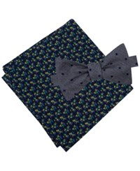 Tommy Hilfiger Men's Dot To Tie Bow Tie And Flower Pattern Pocket Square Set Navy