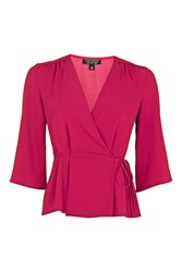Topshop 3 4 Sleeve Wrap Top Bright Pink