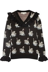 Stella Mccartney Ruffle Trimmed Intarsia Wool Sweater Black