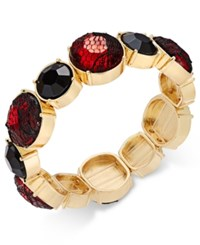 Thalia Sodi Gold Tone Red Lace Stone Stretch Bracelet Only At Macy's