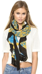 Marc By Marc Jacobs Spliced Jerrie Rose Scarf Yellow Jacket Multi
