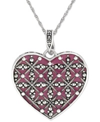 Genevieve And Grace Sterling Silver Necklace Marcasite And Purple Epoxy Heart Pendant