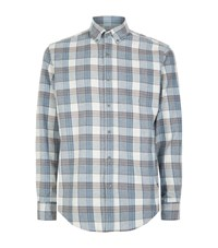 Hardy Amies Checked Flannel Shirt Male Blue