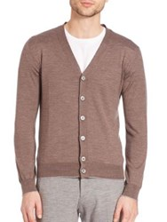 Eleventy Main Merino Wool And Silk Fine Gauge Cardigan Dark Brown
