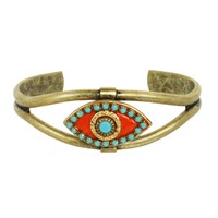 Michal Golan Jewelry Summer Coral Evil Eye Cuff