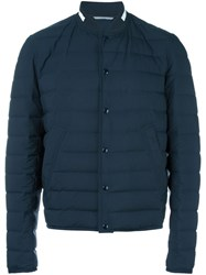 Christian Dior Homme Collarless Padded Jacket Blue