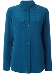Equipment Pocketed Button Down Shirt Blue
