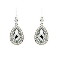 Monet Crystal Teardrop Hook Earrings