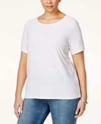 Jm Collection Woman Jm Collection Plus Size Textured Jacquard T Shirt Only At Macy's Bright White
