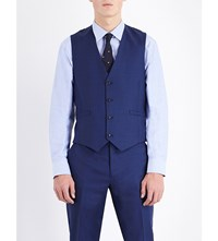 Paul Smith Single Breasted Wool Waistcoat Mid Blue