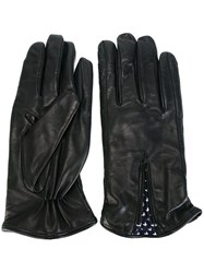 Fefe Leather Gloves Blue