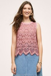 Anthropologie Scalloped Lace Tank Pink