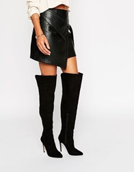 Lipsy Panel Heeled Over The Knee Boots Black