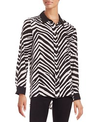 Vince Camuto Striped Button Front Shirt Rich Black