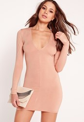 Missguided Plunge Long Sleeve Bodycon Dress Nude Beige