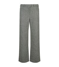 Maje Paname Jacquard Wide Leg Trousers Female Grey